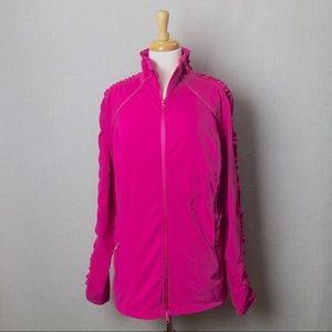 ZELLA Mesh Ruched Fuchsia Zip Athletic Jacket 3X